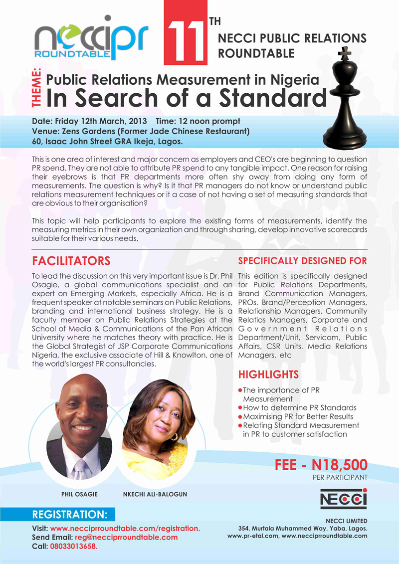11th edition of the NECCI Public Relations Roundtable. Public Relations Measurement in Nigeria, In Search of a Standard