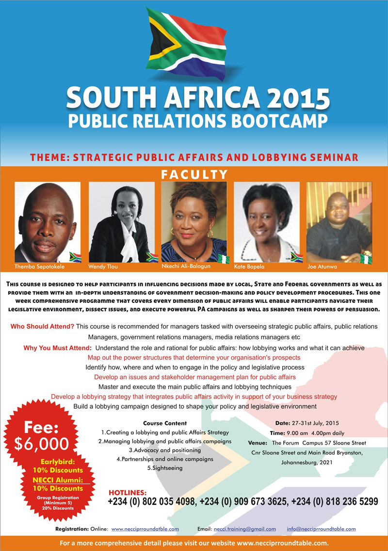 South Africa 2015: Strategic Public Affairs and Lobbying Seminar